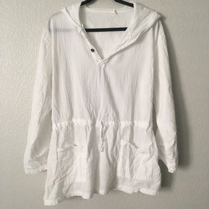 Other - Sheer White Long Sleeve Swim Suit Cover Up